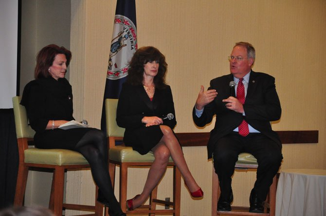 From left, Bridget Bean, director of the U.S. Small Business Association, Joanne Corte Grossi, regional director the U.S. Department of Health and Human Services and William Hazel, the Virginia secretary of health and human resources, speak during a panel discussion at the Westin Dulles Friday, Nov. 16.
