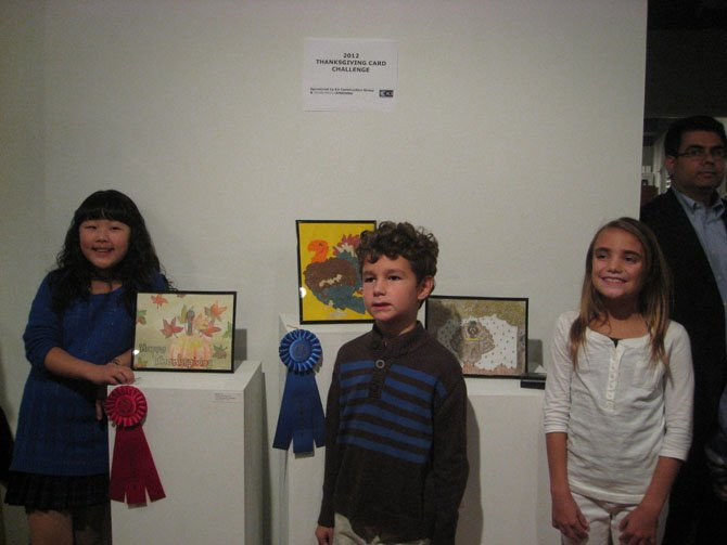 2012 Thanksgiving Card Challenge winners (from left): second placeEstelle Kim, Dranesville ES, first placePatrick Nappi, Westbriar ES, third placeJenna Vigneault, Dranesville ES. 