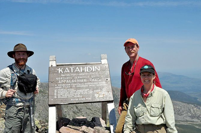 From left, Tracy, Scott and Lisa Jenkins of McLean, at Mount Katahdin in Maine, the northernmost point of the Appalachian Trail. Tracy and Scott Jenkins hiked from Maine to Harpers Ferry, W.V. on the trail, and Scott finished the entire 2,100-plus mile trip to Georgia in October.