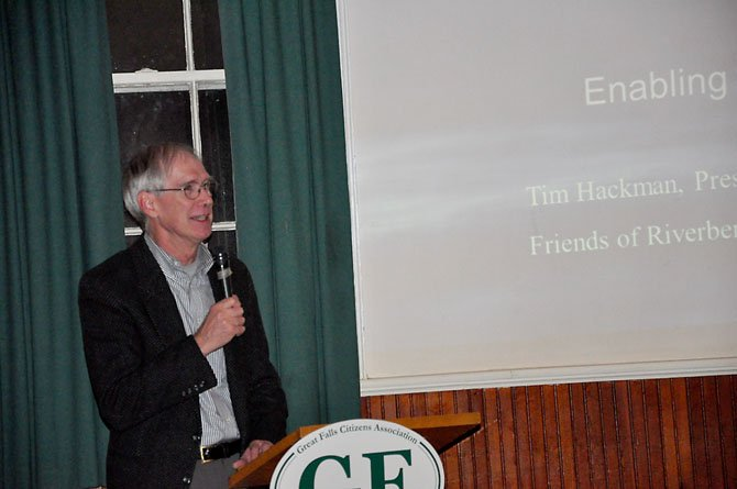 Tim Hackman, president of the Friends of Riverbend Park, speaks at The Grange Thursday, Nov. 15 about the state of park budgets and its effect on Riverbend Park. 
