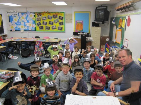 Churchill Road first graders in David Suchoski's class are proud of the Pilgrim hats that they made as part of their lesson on the first Thanksgiving.