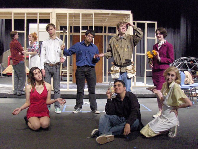 "Rehearsing ""Noises Off"" are (standing, from left) Caleb Bearse, Kelly Anderson, Doug Klain, Nikolai Benabaye-Harild, Alex Griffith and Isabelle Baucum; and (front row, from left) Renee Rozell, Shakil Azizi and Megan Cathro."