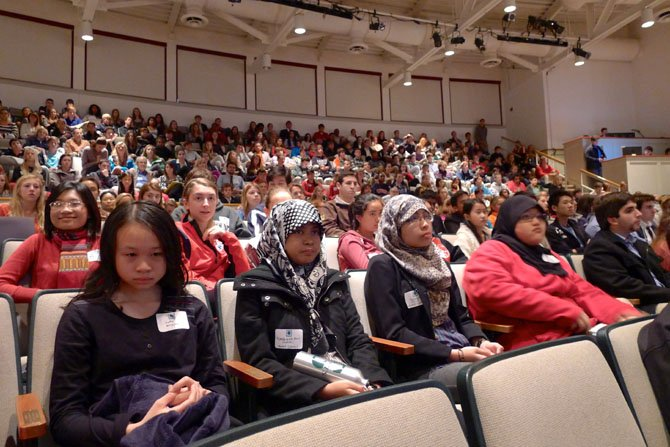 The auditorium of St. Stephen's & St. Agnes School - Upper Campus is packed with students and teachers on Nov. 13.