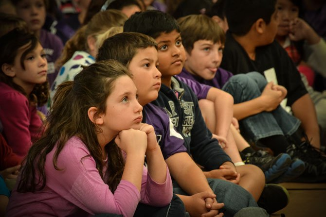 Third graders at Lees Corner Elementary School participate in a Bullying Awareness Day assembly to address bullying on Oct. 12.   