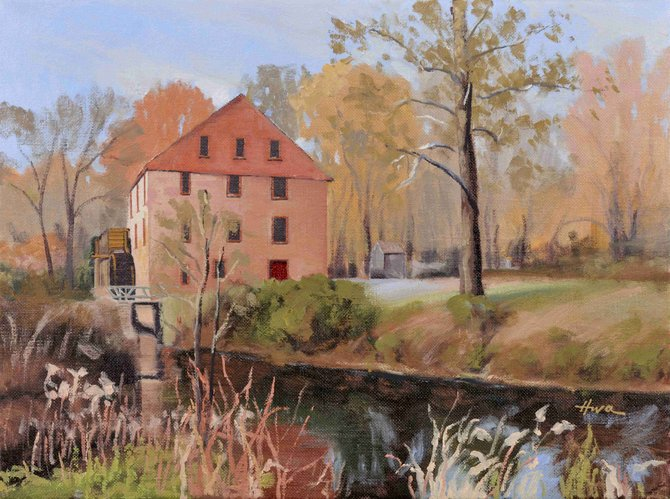 Colvin Run Mill, a painting by Hwa Crawford, is one of the featured pieces in the Great Falls Studios Winter Exhibit at the Great Falls Community Library.