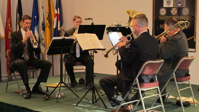 Members of the McLean Orchestra Brass Quintet.