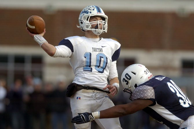 Yorktown quarterback Will Roebuck threw four touchdown passes against Stone Bridge in the Division 5 Northern Region championship game on Nov. 23.