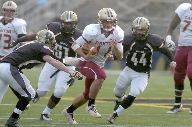 Oakton quarterback Kyle Downer threw two touchdown passes and ran for a score against Westfield in the Division 6 Northern Region football final on Nov. 24.
