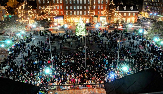 Lights sparkle through Market Square as the holiday tree is lit on Friday evening, Nov. 23.