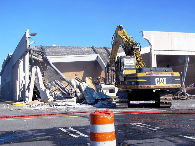 Exterior demolition of Springfield Mall began with what was originally a Garfinckel's Department Store, which later became a Sports Authority. Vornado kicked off exterior demolition of the mall on Monday, Nov. 26.