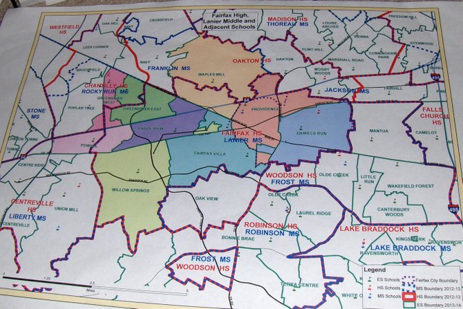 A map of the school boundary study area under consideration.