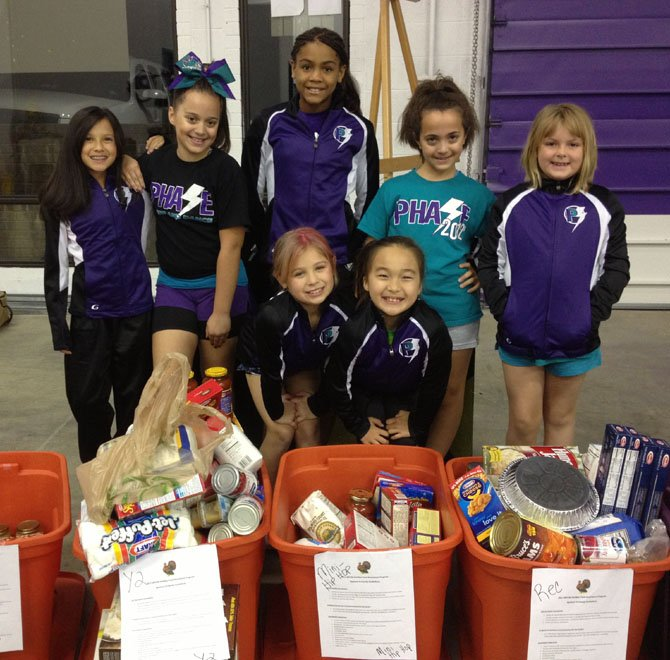 A few members of Phase Twilight dance team helping with the WFCM food baskets.