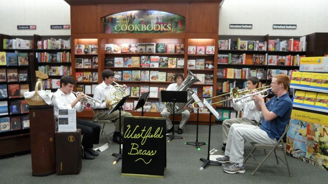 The Westfield High School Brass Quintet players are (from left) Nick Serbu, Kevin Mannikko, Francis Baylock, Chandler Comer and Connor Parsons.