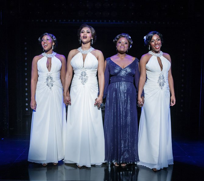 "All four Dreams, together at last (from left: Kara-Tameika Watkins, Shayla Simmons, Nova Y. Payton, and Crystal Joy). The musical ""Dreamgirls"" plays at Virginia's Signature Theatre through Jan. 13, 2013. Visit www.signature-theatre.org."