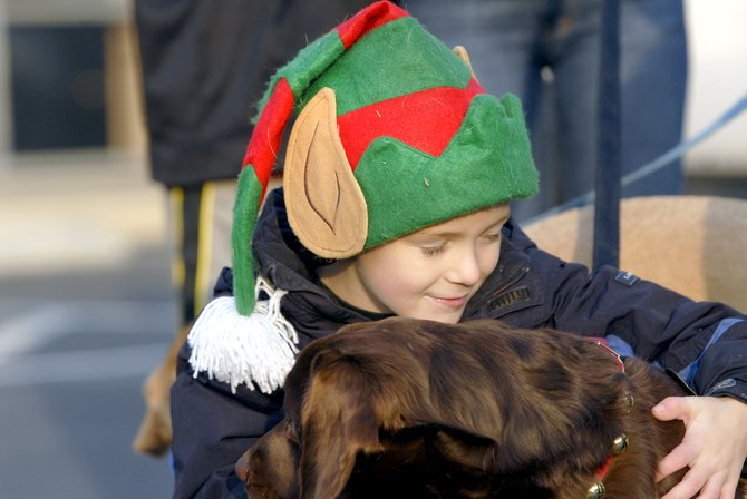 Cooper Dunn, 7, of McLean, with his Chocolate Lab, Jerry, at the McLean ReinDog Parade.