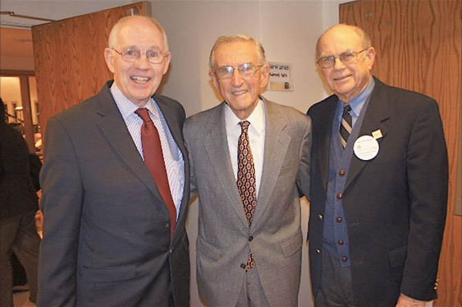 "From left—Richard Duesterhaus, chair of Shepherd's Center of Oakton-Vienna board of directors, Board Member Julius Hankin, and Vice Chair William Kirby. Duesterhaus and Hankin were there at the beginning, two of the founders behind bringing the Shepherd's Center to Virginia, officially in 1997. Kirby says his goal ""is to ring the Beltway with Shepherd's Centers."" He's on his way. They have helped start up centers in Annandale/Springfield, Fairfax/Burke, and Mclean/Arlington/Falls Church."