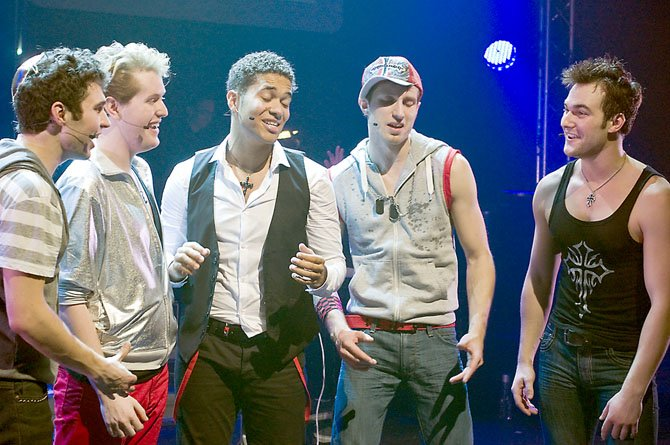 Cast of Altar Boyz, from left, Zack Powell as Abraham; Edward C. Nagel as Mark; Jonathan Walker as Juan; Derek Tatum as Luke; and BJ Gruber as Matthew.