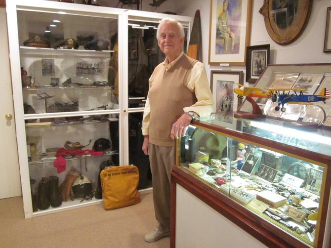 Vienna resident Richard C. Kirkland in his home aviation museum.