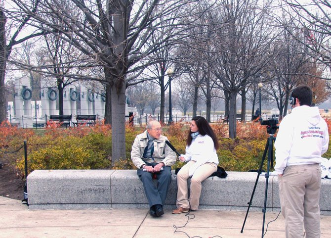 WWII Veteran Steve Guback being interviewed by West Springfield High School senior Elizabeth Bowman. Five seniors from West Springfield High School interviewed the veterans on Saturday, Dec. 1 at the memorial in Washington, D.C. for their senior capstone project.