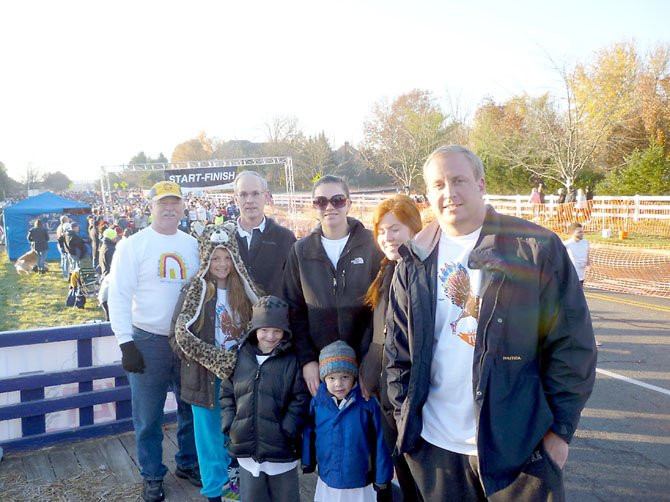 The family of Bonnie Huneke, in whose honor this year's Turkey Trot was run, attended this 24th annual event.