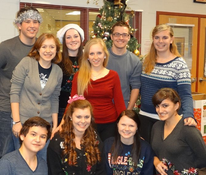 Directing Westfield Highs Ho-Ho Holiday Show are (top row, from left) Aidan Quartana, Shannon Douglass, Mitchell Buckley and Bayleigh Aschenbrenner; (middle, from left) Abby Picard and Sarah Schweit; and (bottom row, from left) Alex Mann, Allie Koenigsberg, Maggie Mitchell and Olivia Joseph.