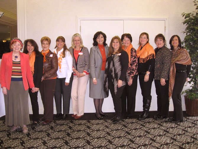 "Hostesses at ""Coffee, Tea & Brem"" are, from left, Caroline Stafford-Pastel, Lynne Bergman, Cynthia Halper, Cathy Colleli, Connie Roos, Dr. Rachel Brem, Jody Goldkind, Maureen Goodwin, Beth Bonita, Karen ""KT"" Thomas, and Lori Garnher. Not pictured: Aileen Feldman, Joanie Henry, Heather Henry and Sara Lange."