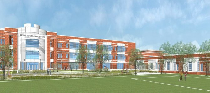 View of the proposed new Jefferson-Houston School from the play field along Cameron Street.