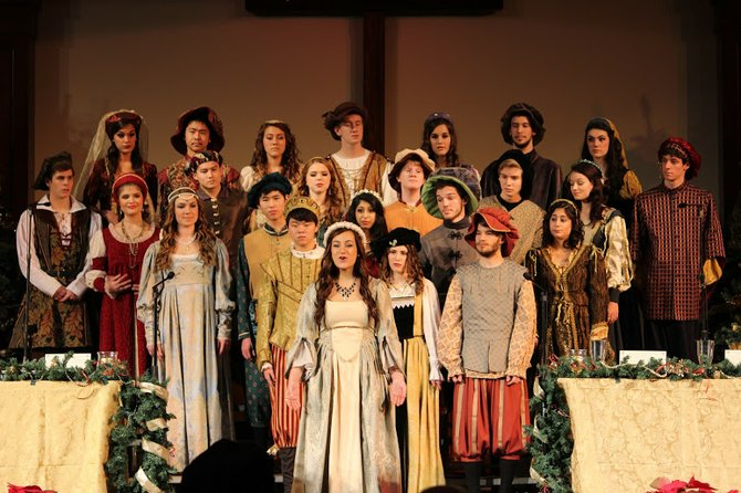 Members of the Langley High School Chorus perform at their annual Renaissance Feaste Dec. 8 at the Capital Church in Vienna.