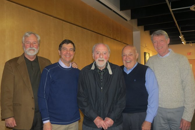 The panel, all of whom were heavily involved in Reston's original development and efforts, with the town's founder, Robert Simon. From left, John Sidall, Chuck Veatch, Robert Simon, Peter McCandless and Houston Park.