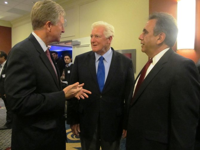 Brian Moran, former chairman of the Democratic Party of Virginia with U.S. Rep. James Moran (D-8) and Fred Shwaery of Vienna, a member of the Arab American Democrats of Virginia at the 24th annual Arab American Candidates' Night Dinner held at the Tysons Corner Marriott on Sept. 30.
