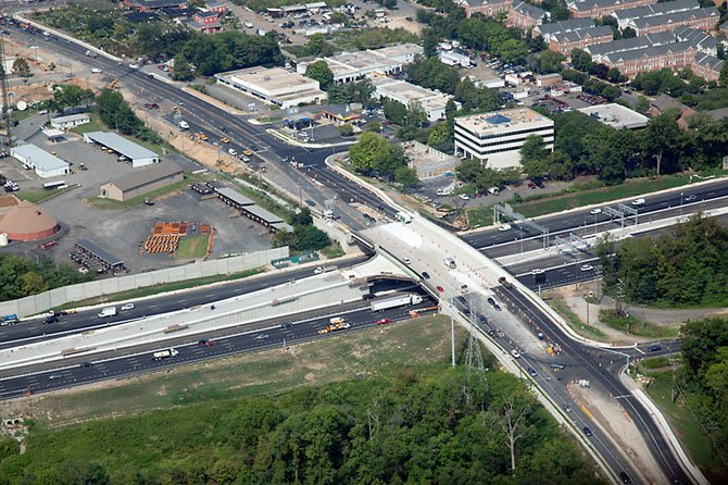 Rt 29: From the air looking at Lee Highway, the express lanes southbound ramp gives motorists options to Merrifield.