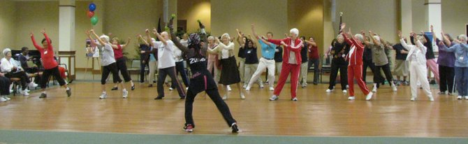 Senior citizens at Greenspring retirement community take Zumba, a Latin-inspired dance-fitness class.