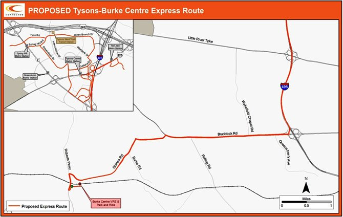 Route from Burke to Tysons. The trip is expected to take about one hour.