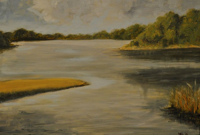 Gardiners Creek, by student Diane Lawrence, Adult division, oil on canvas, instructor Mollie Vardell.