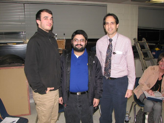 From left, George C. Marshall High School Theater Director Jason Tamborini, GC Marshall Theater Award-winner Walter Bobby McCoy, and Theater Booster President Jim Campbell.