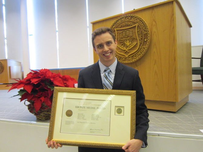 "Matt Jordan, of Vienna, received a Bronze Medal Award for ""superior federal service."""