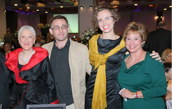 From left: Marcie Natan, Hadassah National President; Assaf Galay, Pollin's grandson in law; Hannah Pollin-Galay, Pollin's granddaughter who announced the gift, and Nancy Falchuk, past Hadassah National President.