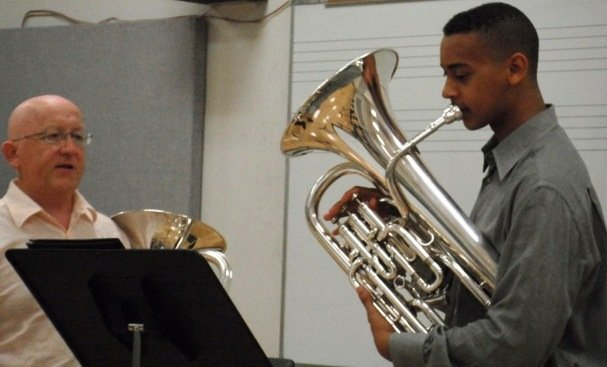 Joe Broom plays with his coach, Steven Mead, UK-based international euphonium virtuoso soloist.
