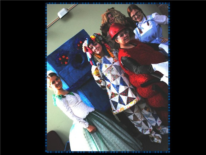 Cast members of the Sovereign Grace Co-op Drama Club production, The Patchwork Girl of Oz: Glinda (Katie Helms), The Woozy (Ben Concepcion and Michael Briggs), Patches (Katelyn Black), Chattie Winkie (Hannah Wheeler), Lion (Wes Remer) and Dorothy (Mercy Wheeler).