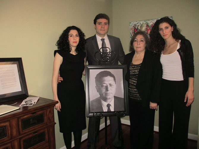 The family of kidnapped Libyan human rights activist Mansur Rashid Kikhia commemorated his life and legacy on Saturday, Jan. 12, 2013.  From left, Bisan Toron, Rashid Mansur Kikhia, widow Baha Omary Kikhia and Jihan Kikhia.