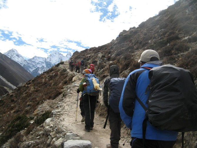 Bridgit Fried and Cindy Steuarts group on its way to Mt. Everest.