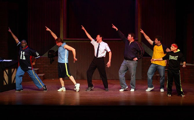 "The ""Hot Metal Boys"" of Malcolm Lee (Noah), Keith Miller (Ethan), Michael Gale (Malcolm), Christopher Harris (Dave), James Hotsko (Jerry), and Jack Stein (Harold) rehearse their stage act in LTA's production of ""The Full Monty."""