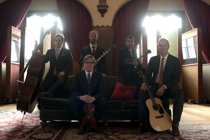 Steep Canyon Rangers will be performing at The Birchmere in Alexandria on Friday, Jan. 25. Clockwise from left: Charles Humphrey III, Graham Sharp, Mike Guggino, Woody Platt and Nicky Sanders.