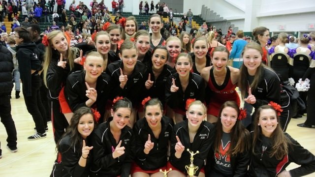 The James Madison Varsity Dance Team placed first out of 10 teams in the Large Varsity Pom division and third out of seven teams in the Large Varsity Jazz division.