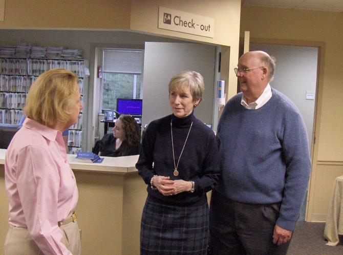 From left: Patient Judy Betts of Virginia Run chats with Barby and Richard Bowles.