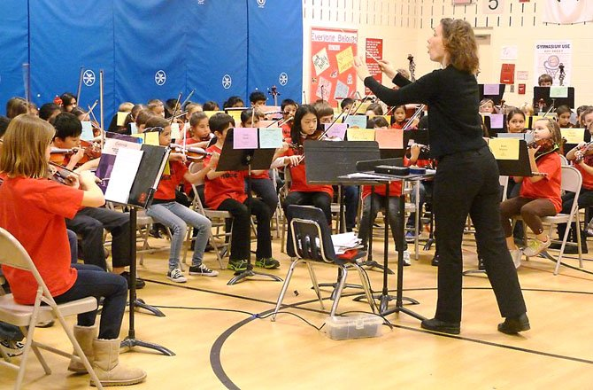 Fourth, fifth and sixth graders perform in the Winter String Concert, Thursday, Jan. 17, at Union Mill Elementary School, led by string teacher Mrs. Melissa Brown.