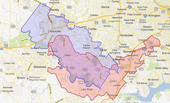 State Sen. George Barker (D-39) would lose Alexandria and gain Centreville.