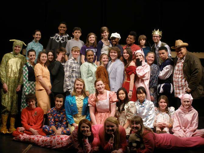 "Cast members of Chantilly High's upcoming children's show, ""Bedtime Stories,"" are having fun with their roles."