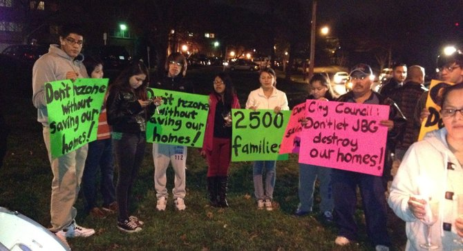 Beauregard tenants conduct a vigil on Human Rights Day.