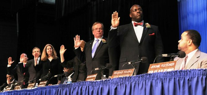 Members of the Alexandria City Council take the oath of office.
